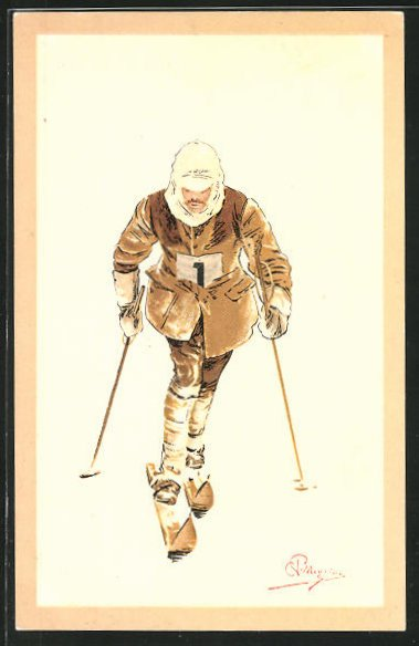 Künstler-AK Carlo Pellegrini: Skiläufer, Startnummer 1