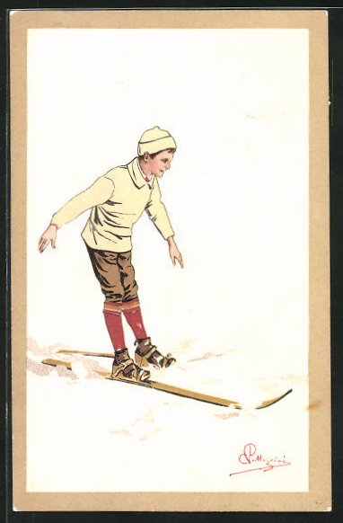 Künstler-AK Carlo Pellegrini: Bub auf Skiern