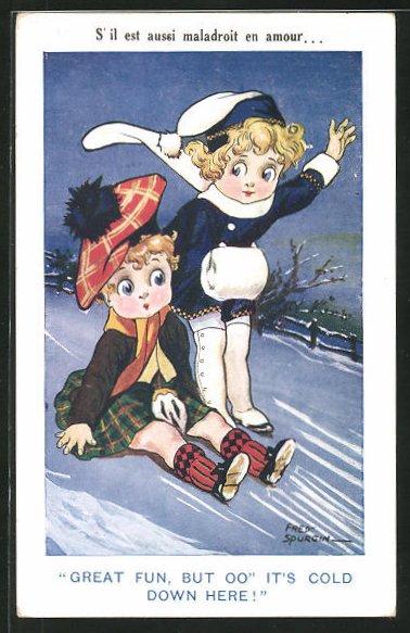 Künstler-AK Fred Spurgin: Great fun, but oo it`s cold down here!, Scherz, kleiner Schotte im Schnee