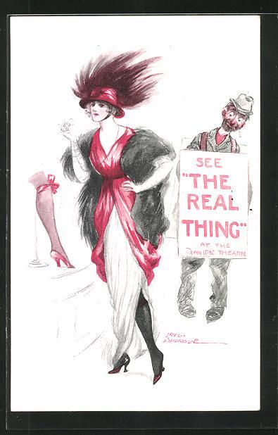 Künstler-AK Fred Spurgin: See The Real Thing, elegante Dame, Erotik