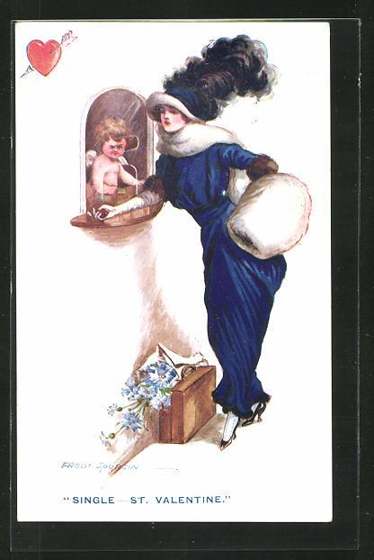Künstler-AK Fred Spurgin: Single - St. Valentine, Dame bei Amor