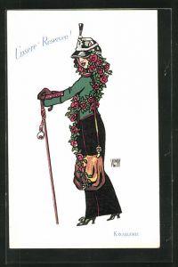 Künstler-AK sign. Wr. de May: Unsere Reserven, Dame in Uniform mit Rosenhaar
