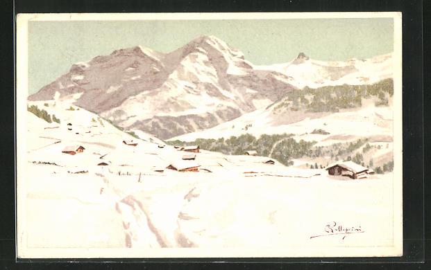 Künstler-Lithographie Carlo Pellegrini: verschneite Berglandschaft