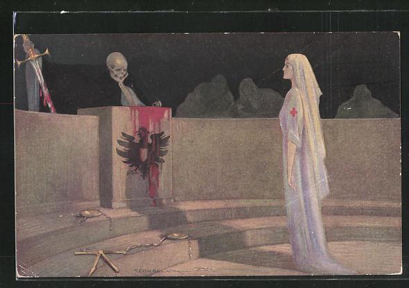 Künstler-AK Tito Corbella: Miss Cavell and German Kultur, Die Kultur richtet über die Gerechtigkeit - eine Parodie, Tod