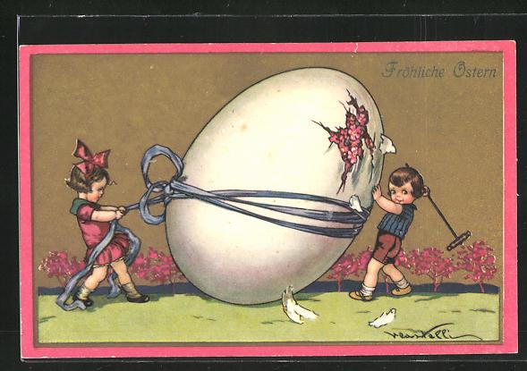 Künstler-AK Castelli: Fröhliche Ostern, Kinder öffnen Osterei
