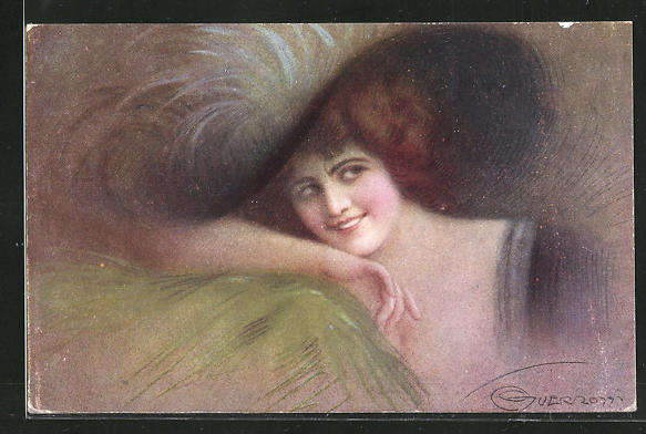 Künstler-AK G. Guerzoni: junge Dame mit Hut