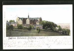 Goldfenster-AK Stollberg i. Erzgeb., Schloss Hoheneck mit leuchtenden Fenstern