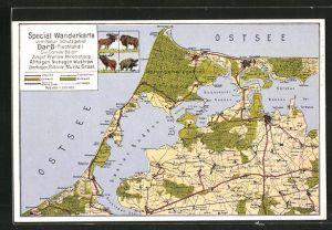 AK Barth, Spezial Wanderkarte vom Naturschutzgebiet Darss