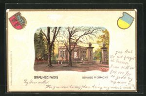 Passepartout-Lithographie Braunschweig, Schloss Richmond, Wappen