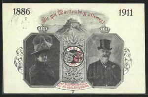 AK von Württemberg, Erinnerungskarte an die silberne Hochzeit des württ. Königspaares 1911, Ganzsache