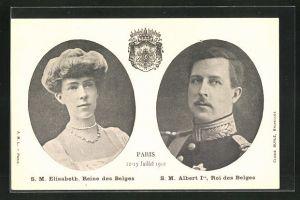 AK S. M. Albert 1er, Roi des Belges, S. M. Elisabeth, Reine des Belges, Paris 1910