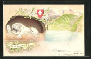 Präge-AK Lion de Lucerne u. Wappen