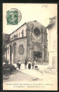 AK St-Cannat, Tremblement de terre 11 Juin 1909, L'Eglise dévastée