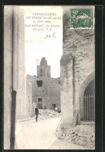 AK St-Cannat, Tremblement de terre 11 Juin 1909, Le Clocher décapite