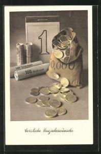 AK Geldsack & Münzen