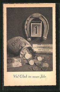 AK Geldsack mit Münzen & Hufeisen