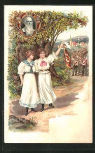 Präge-AK Frauen winken, Turnvater Jahn