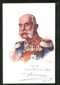 AK Portrait Kaiser Franz Josef I. von Österreich in Uniform mit Epauletten