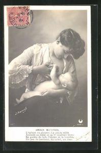 Foto-AK Henri Manuel: Amour Maternel, Mutter gibt Baby die Brust