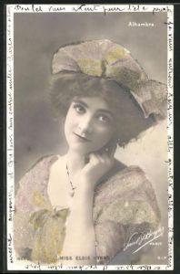 Foto-AK Paul Boyer: Schauspielerin Miss Elsie Mynne mit luftigen Hut und passendem Kleid mit Glitzersteinen