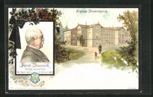 Lithographie Friedrichsruh, Schloss Friedrichsruh, Portrait von Fürst Bismarck