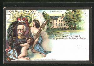 Lithographie Friedrichsruh, Zum Gedenken an Fürst Otto von Bismarck, Schlos Friedrichsruh