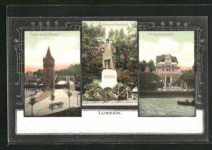 AK Lübeck, Trave Kanal Brücke, Bismarck-Denkmal, Navigationsschule