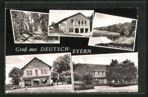 AK Deutsch-Evern, Geschäft v. Theodor Mues, Gasthaus Böhlk, Schule und Waldweg