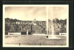 AK Potsdam, Terrassen mit grosser Fontäne - Schloss Sanssouci