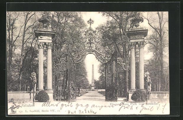 AK Potsdam, Eingang zum Park von Sanssouci