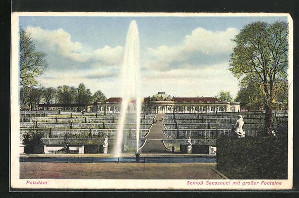AK Potsdam, Schloss Sanssouci mit grosser Fontäne