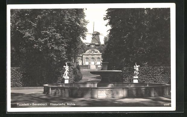 AK Potsdam, Historische Mühle - Schloss Sanssouci