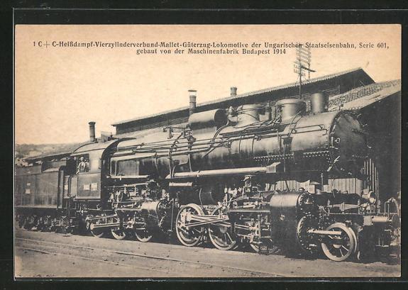 AK Mallet-Güterzug-Lokomotive der ungarischen Staatseisenbahn, Serie 601