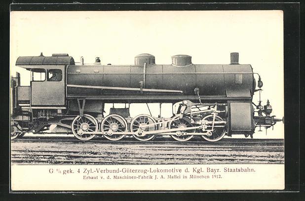 AK Güterzug-Lokomotive der Kgl. Bayr. Staatsbahn