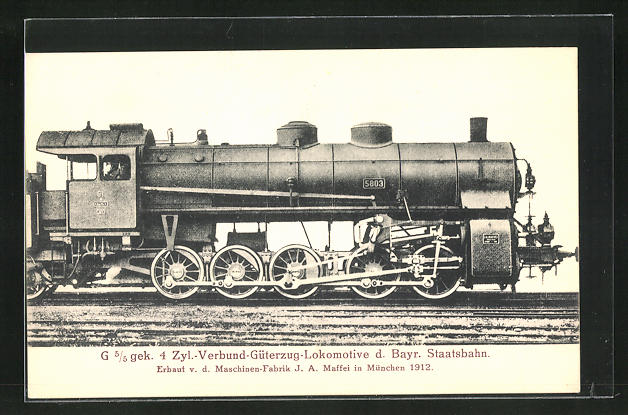 AK Güterzug-Lokomotive der Bayr. Staatsbahn