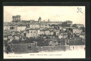 AK Auch, Panorama Midi, Lycee et Chathedrale