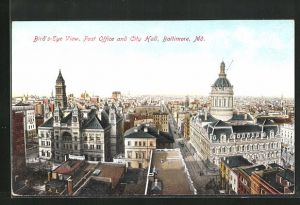 AK Baltimore, MD, Bird`s-Eye View, Post Office and City Hall