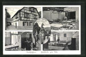 AK Veitshöchheim, Gasthaus zur Rose, Hofgarten mit Pegasusgruppe