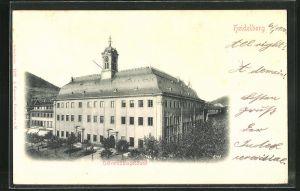 Relief-AK Heidelberg, Am Universitätsgebäude
