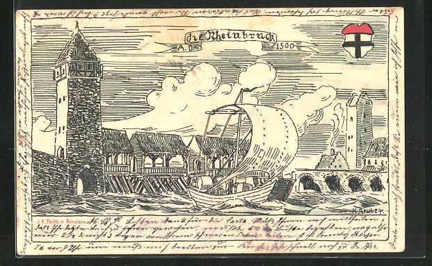 Künstler-AK Siegershausen, Die Rheinbrücke 1500 mit Segelschiff
