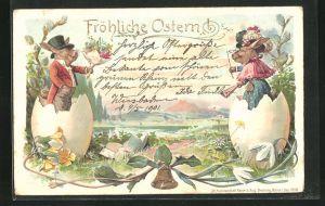 Lithographie Vermenschlichte Osterhasen begrüssen sich aus dem aufgesprungenen Osterei heraus, Fröhliche Ostern