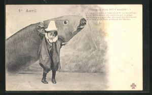 AK Junge trägt riesigen Fisch auf seinem Rücken, Gruss zum 1. April