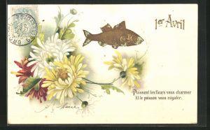 Präge-AK Fisch schwimmt an gelben und weissen Blüten vorbei, Gruss zum 1. April