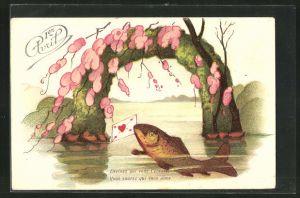 AK Fisch taucht mit einem Brief aus dem See auf, Gruss zum 1. April