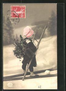 AK Junger Schornsteinfeger auf Skiern unterwegs