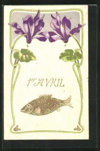 AK Goldener Fisch und lila Blüten, Gruss zum 1. April