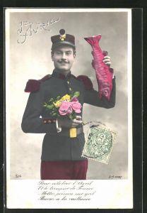 AK Junger Soldat bringt Blumen und Fisch zum 1. April