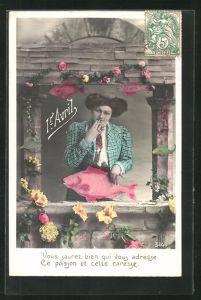 AK Frau mit Fisch am Fenster, Gruss zum 1. April