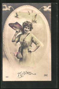 AK 1. April, Frau trägt Fisch auf der Schulter