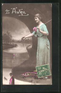 AK 1. April, Frau angelt einen Fisch